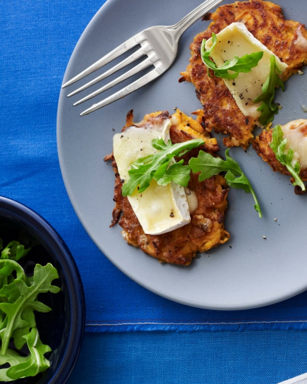 sweet potato latkes with brie and arugula