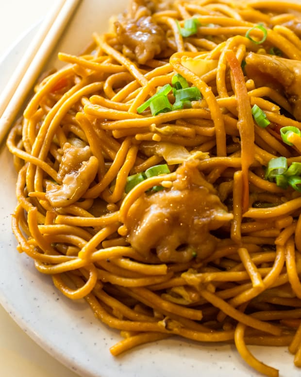 asian sweet and sour noodles with chicken