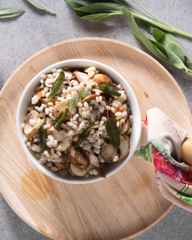 fried sage barley salad