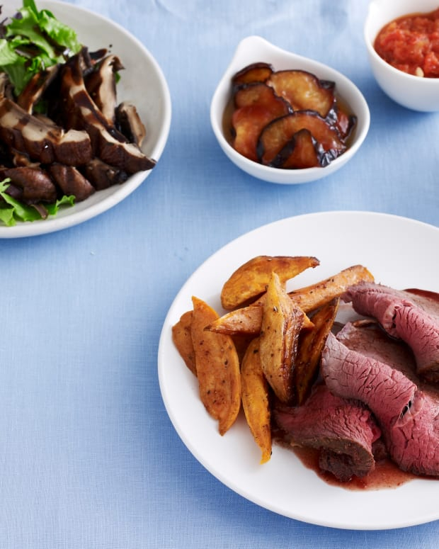 beef and salad on table - menu