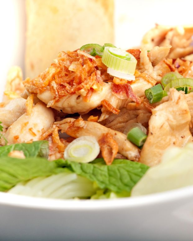 chicken salad with ginger peanut dressing