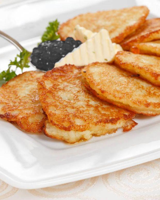 gourmet sweet potato latkes and caviar