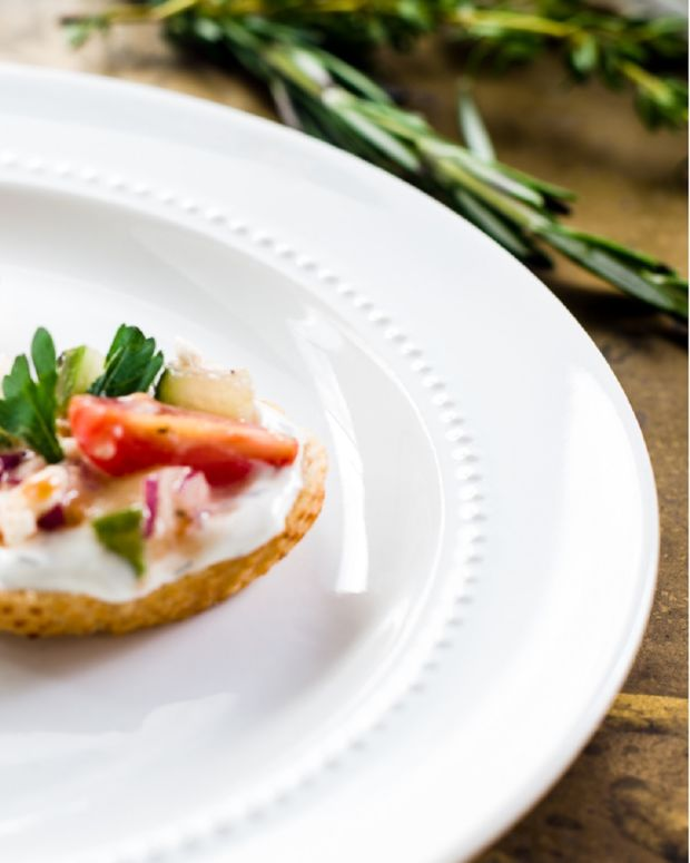 Greek Salad Crostini with Mediterranean Herb Dip (or Tzaziki)