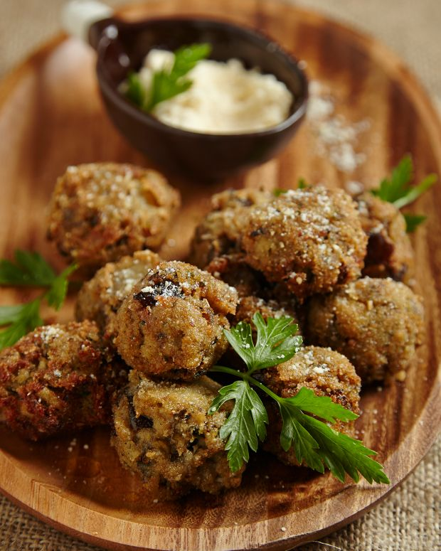 "Fried Eggplant ""Meatballs"""