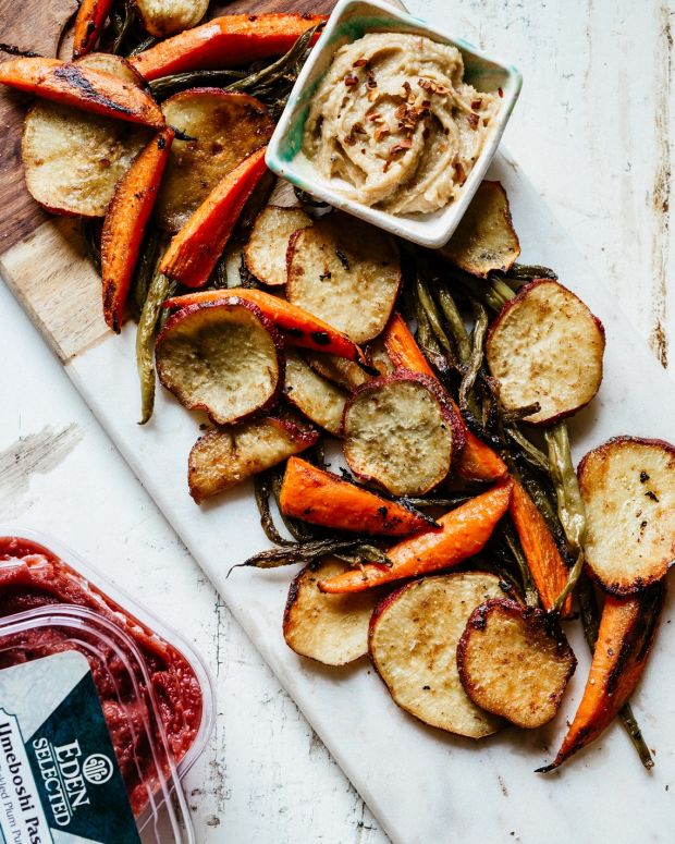Umeboshi Roasted Vegetables with Tahini Ginger Dip