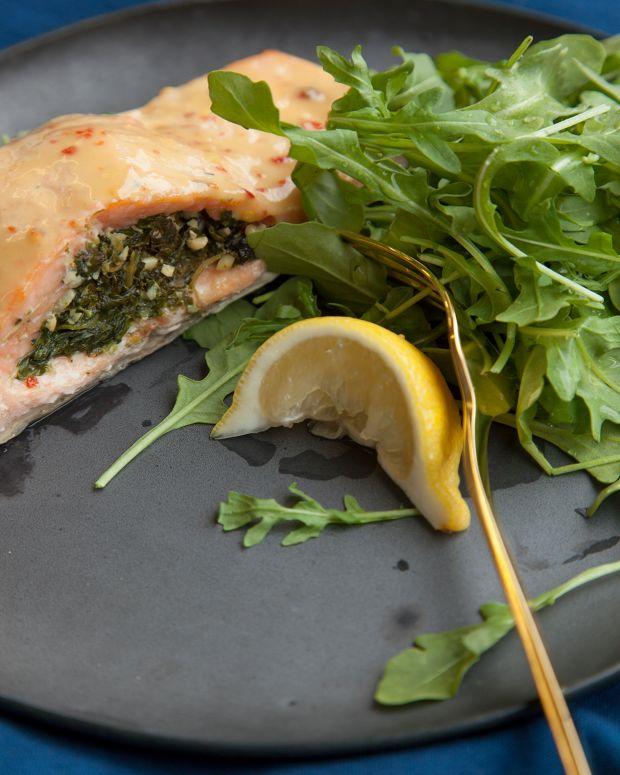 spinach pesto stuffed salmon