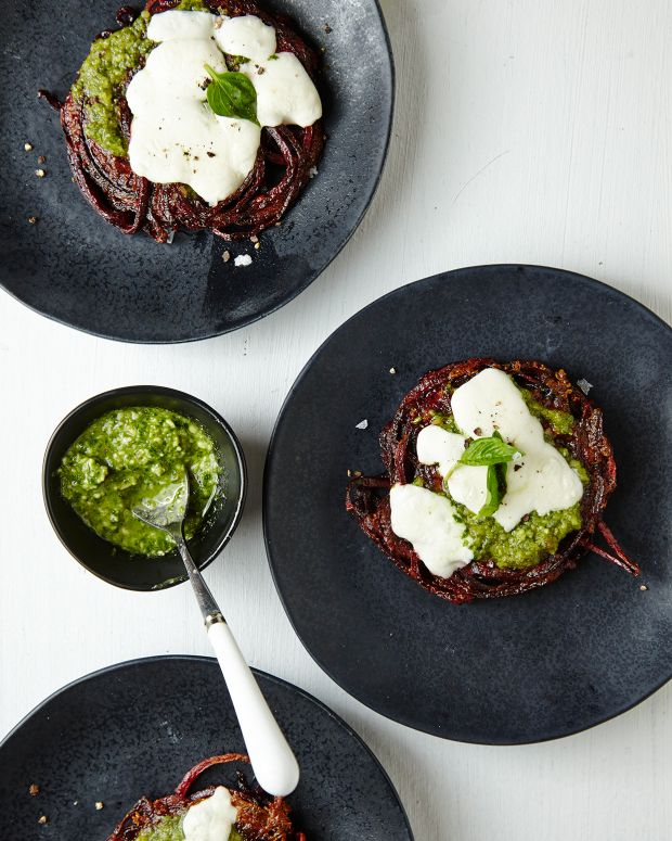 Beet Pizza with Arugula Walnut Pesto Pg. 39