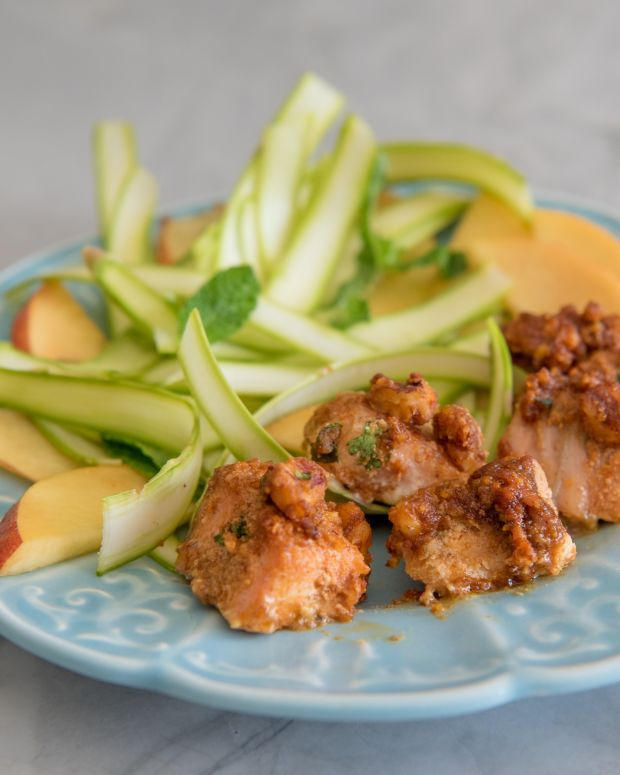Pecan Crusted Maple-Mustard Salmon With Shaved Asparagus, Nectarine, and Mint Salad