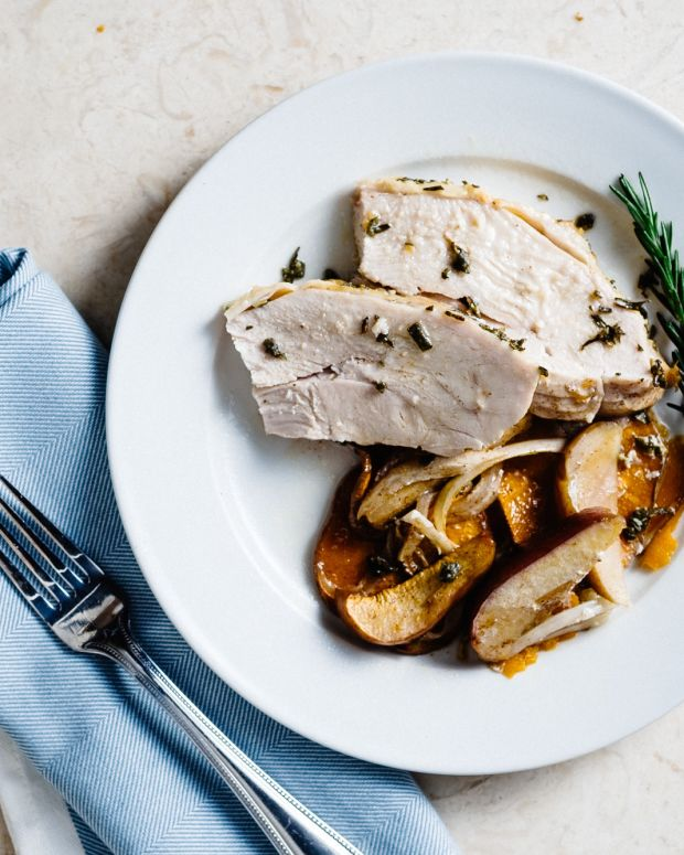 ROASTED SAGE AND ROSEMARY TURKEY WITH SWEET POTATOES AND APPLES