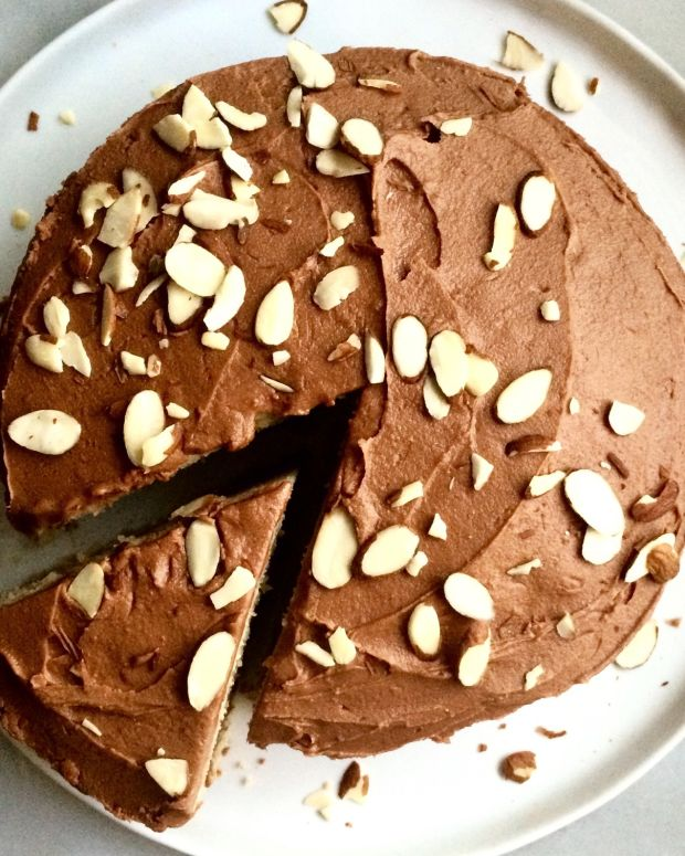 Almond Cake with Chocolate Buttercream Frosting