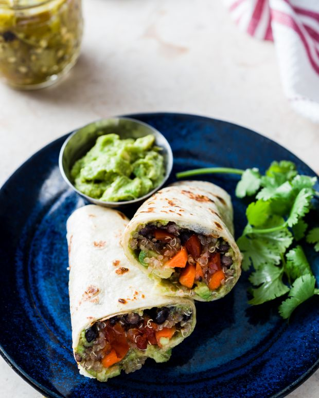 Mexican Quinoa and Black Bean Wraps with Green Chili Guacamole