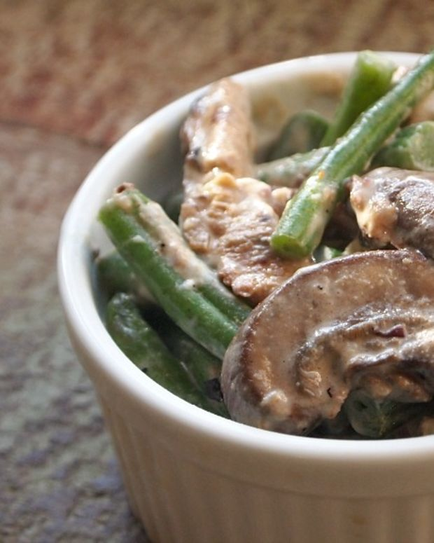 Green Bean and Goat Cheese Casserole with Mushrooms