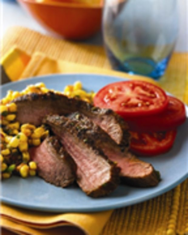 Grilled Southwest Steaks with Spicy Corn