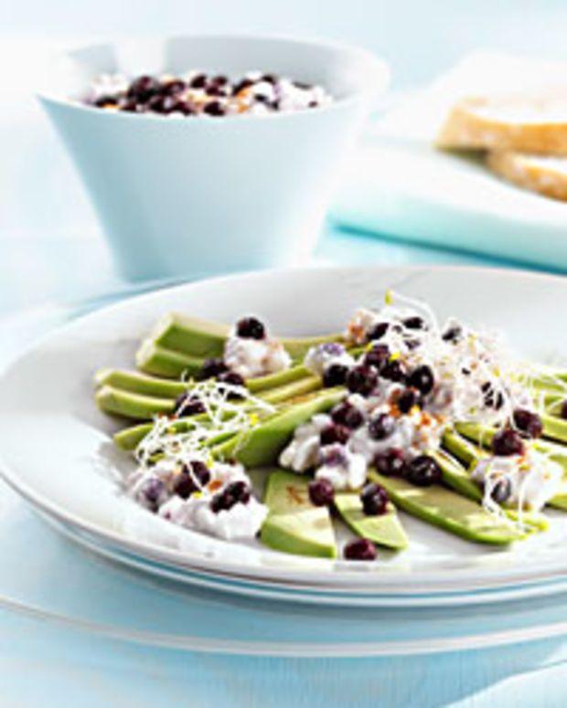 Avocado Carpaccio with Wild Blueberry Cottage Cheese Mix