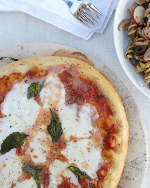 Margherita Pizza with Pesto Pasta Salad