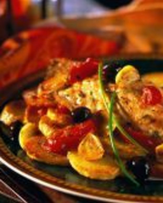 Roasted Yellowtail Snapper Olives and Tomatoes