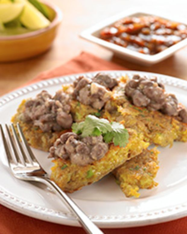 South of the Border Latkes with Black Bean Topping