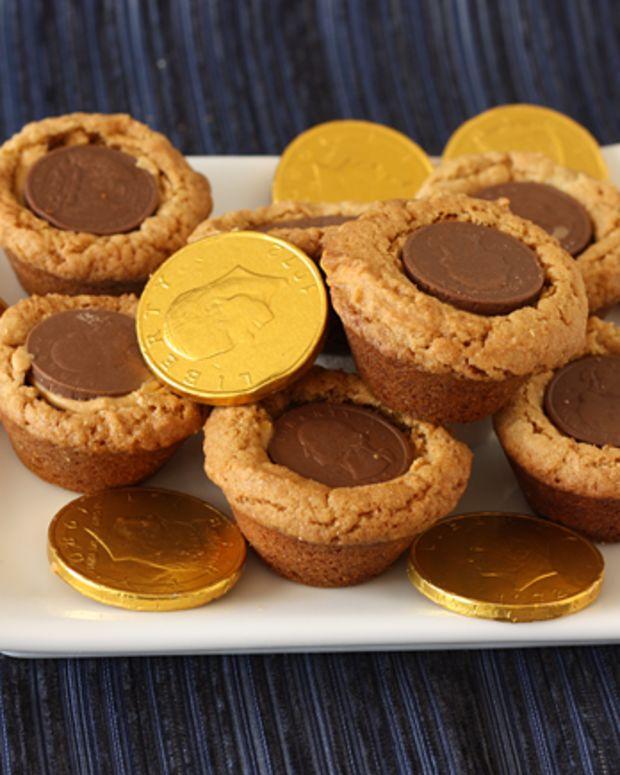 Gelt Filled Peanut Butter Cookies