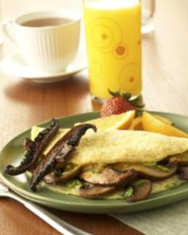 "Portabella Omelet topped with Portabella ""Bacon"""