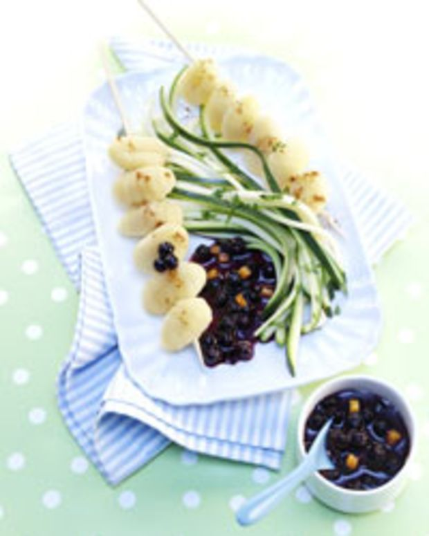 Gnocchi Skewers with Wild Blueberry Sauce,