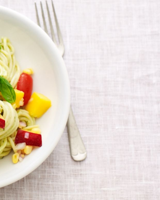Avocado Cream Pasta with Summer Salsa
