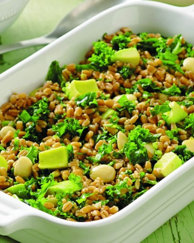 kale farro avocado salad