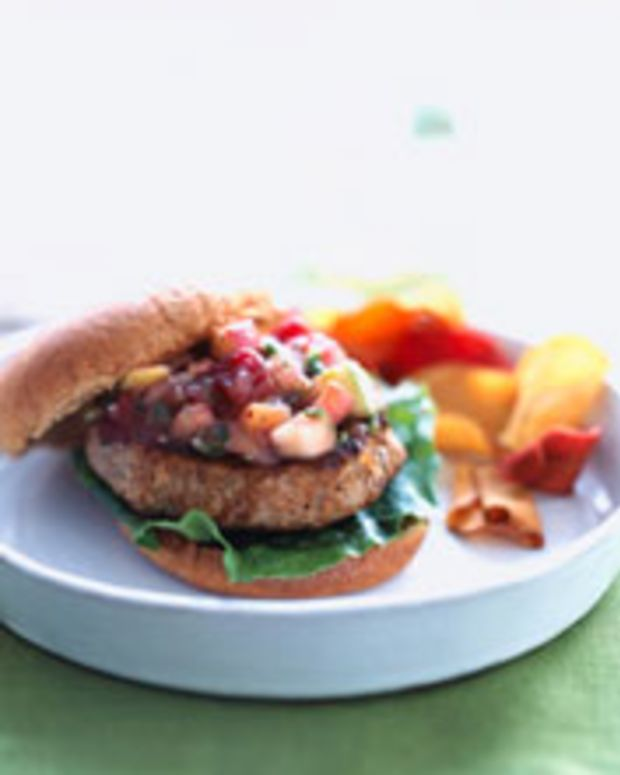 Apple-Turkey Burgers with Cranberry- Apple Salsa