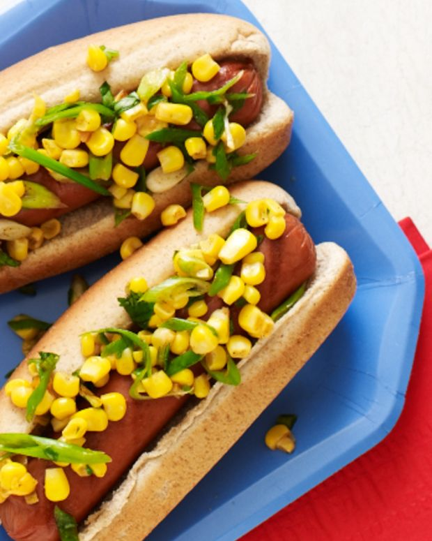 corn salsa hot dog topper