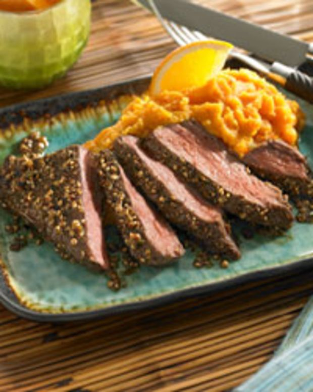 """Citrus Beef Steak """"Cuban Style"""" with Mashed Sweet Potatoes"""