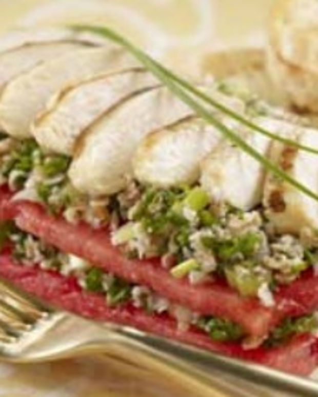 Watermelon Taboule Stacks with Grilled Chicken