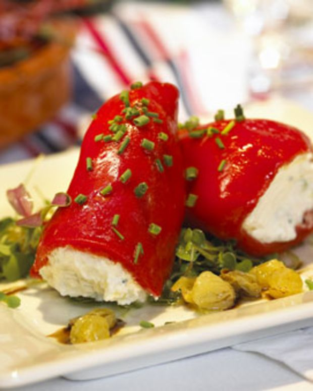 Warm Piquillo Peppers with Goat Cheese, California Raisins and Moscatel Vinaigrette