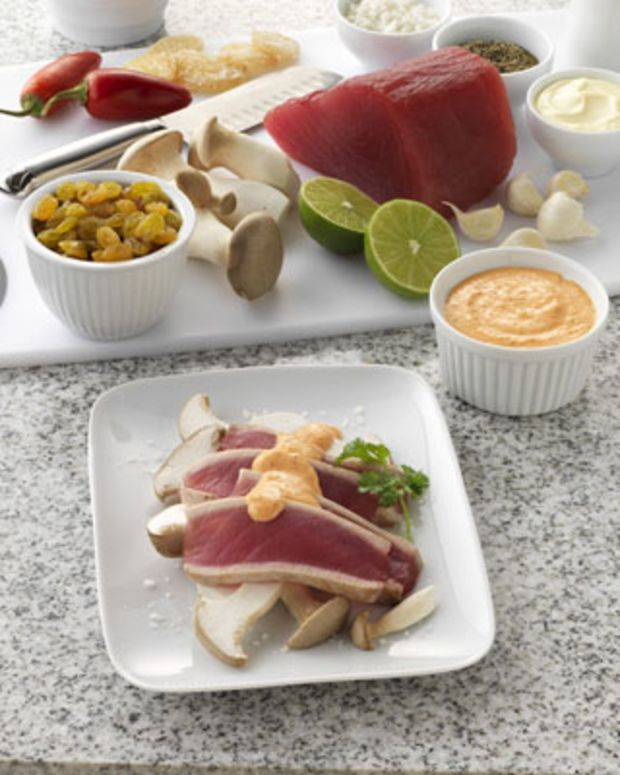 Ahi Tuna with California Golden Raisin-Ginger Cream on Royal Trumpet Mushrooms