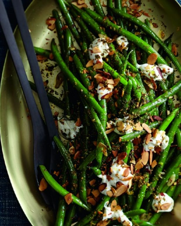 Sauteed Green Beans With Labneh And Sliced Almonds