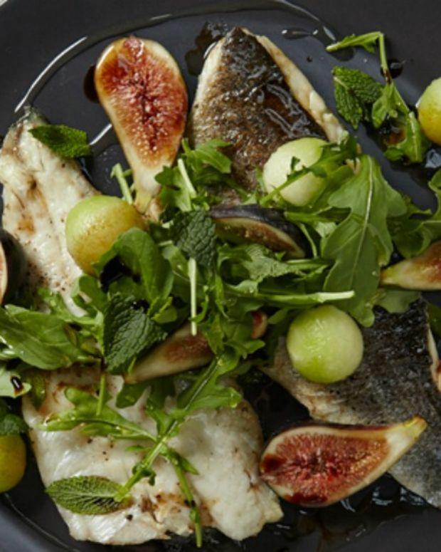 Bronzino With Fig-Mint Salad