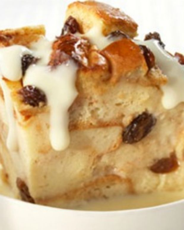 Cinnamon Raisin Bread Pudding with Vanilla Pudding Sauce