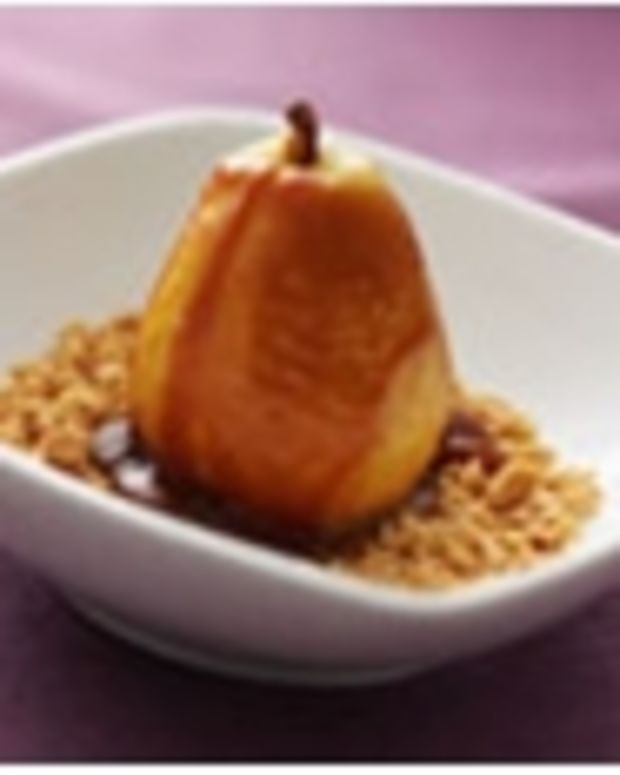 Poached Pears with Vanilla Caramel Sauce and Toasted Peanuts