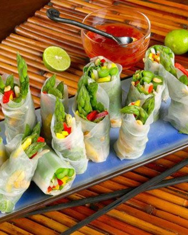 California Asparagus Spring Rolls with Sweet Red Chili Dipping Sauce