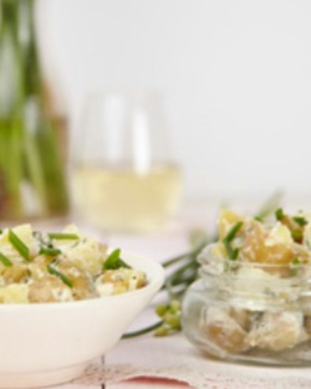 potato salad with chive blossoms