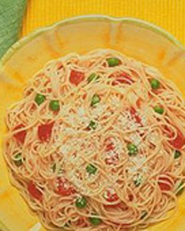 Angel Hair with Pink Tomato Sauce, Peas and Roasted Peppers