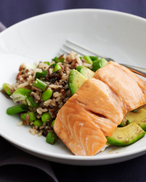 Avocado Stuffed Salmon with Wild Rice