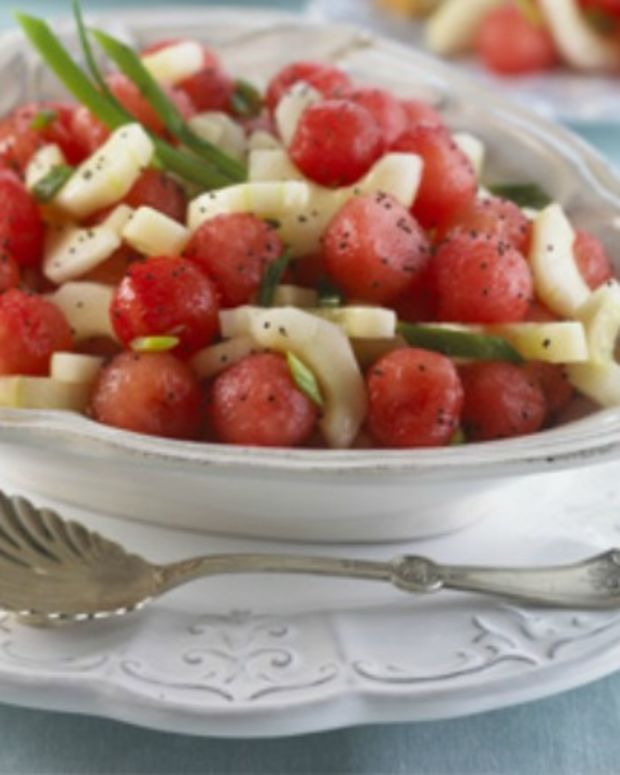 Sweet Sour Watermelon and Cucumber Salad
