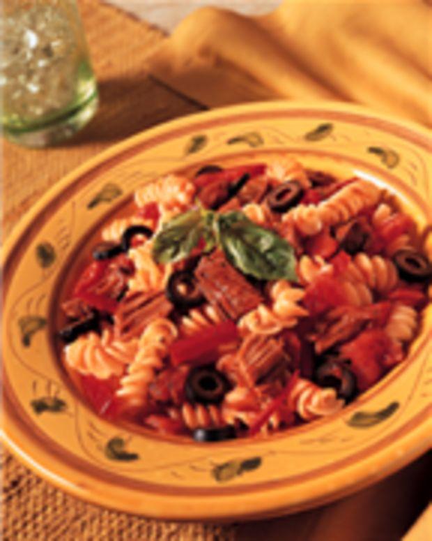 Tuscan Beef & Pesto Pasta