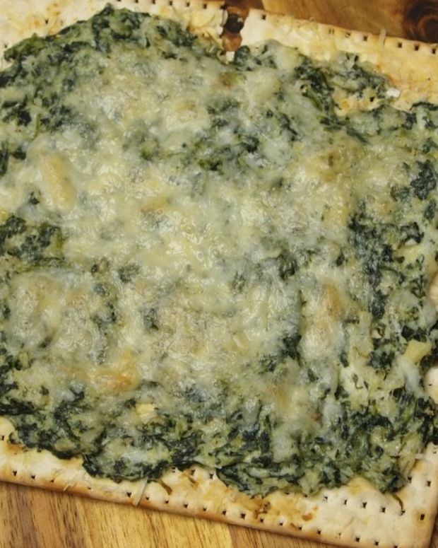 spinach and artichoke dip matzo pizza