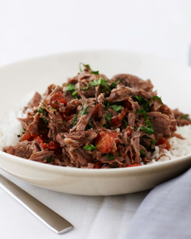 Shredded Lamb with Tomato and Basil over Rice