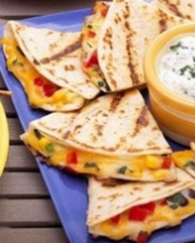 Confetti Quesadillas with Cilantro Yogurt Dip