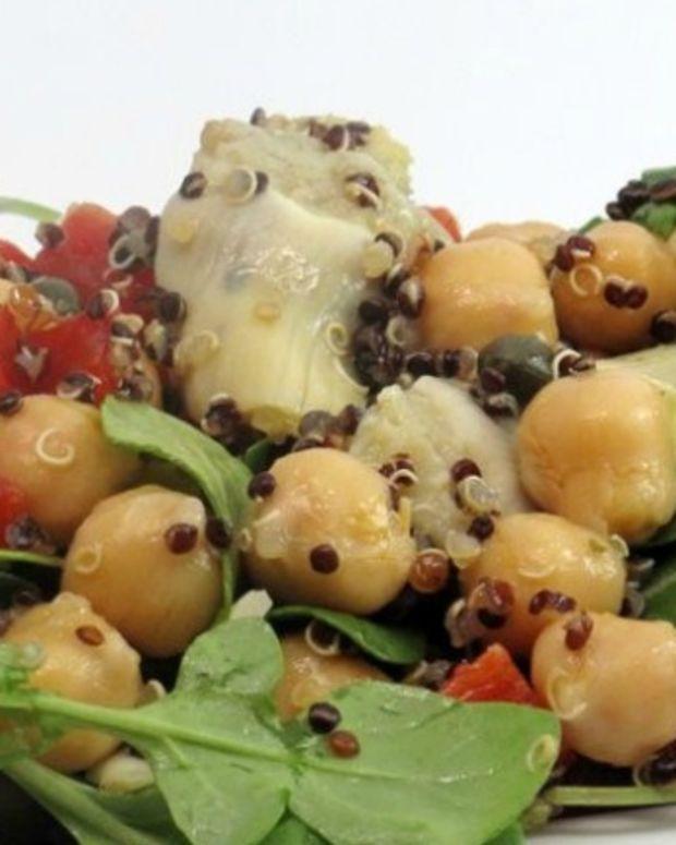Firecracker Quinoa Salad with Chickpeas and Artichoke Hearts