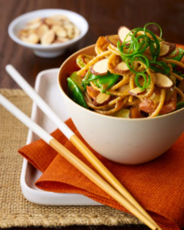 Asian Noodle Bowl with Spicy Almond Sauce