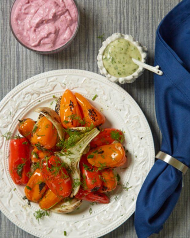 Roasted Summer Vegetables with Horseradish Aioli