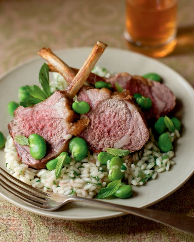 Roasted Lamb Chops with Fava Beans and Minted Risotto
