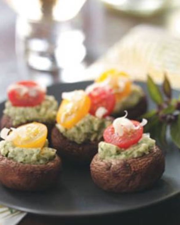 Stuffed Asiago-Basil Mushrooms